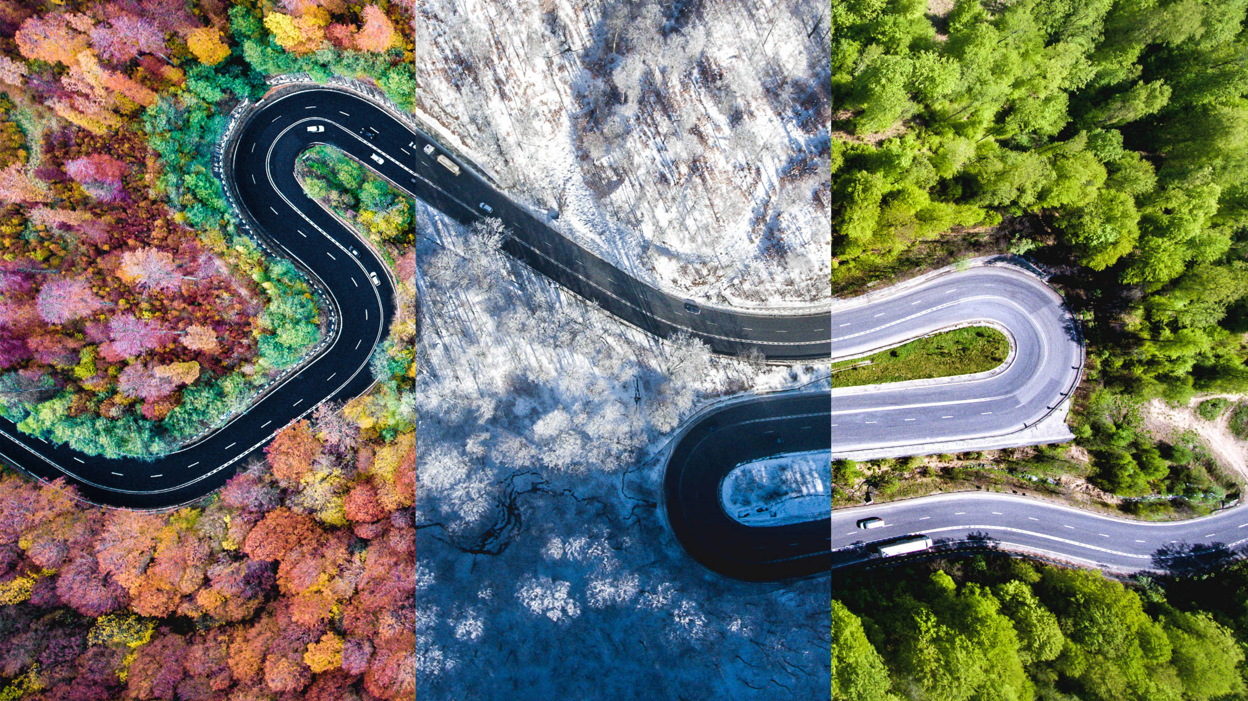 Aerial view of winding road as the transportation industry navigates through the seasonality of freight markets.